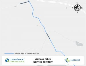 Map of Lakeland Networks Fibre Internet Coverage Armour