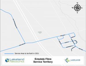 Map of Lakeland Networks Fibre Internet Coverage Emsdale