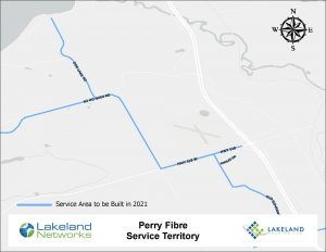 Map of Lakeland Networks Fibre Internet Coverage Perry