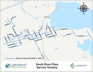 Map of Lakeland Networks Fibre Internet Coverage South River